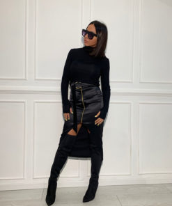 Long black satin skirt and roll neck