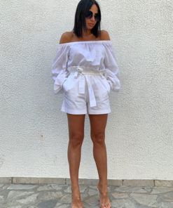 Summer white shorts with pockets