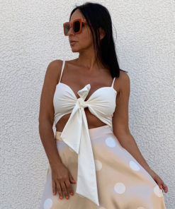White strappy top crop
