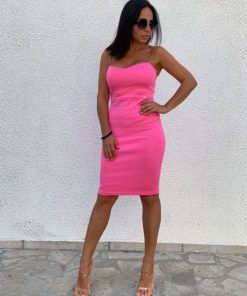 Pink bodycon dress with golden straps - knee length, with high percent of elastine