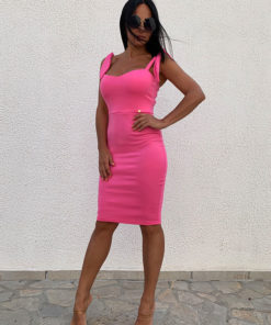 Pink bodycon strappy dress