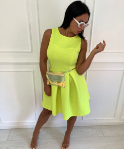 Short sleeveless dress, neon yellow