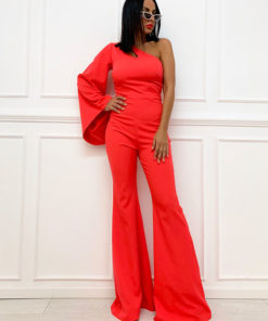 Jumpsuit in coral color with one sleeve and off shoulder