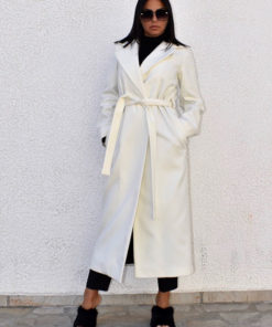 Women's belted wrap white coat