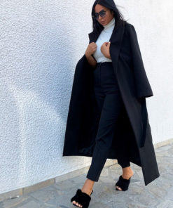 Women's belted wrap black coat