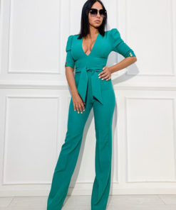 Jumpsuit with puff shoulders, long legs and deep V cleavage