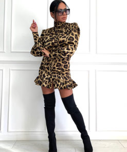 Mini dress with long puff sleeves