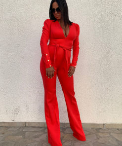 Red jumpsuit with puff shoulders
