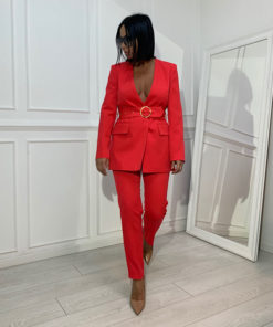 Coral red women's suit
