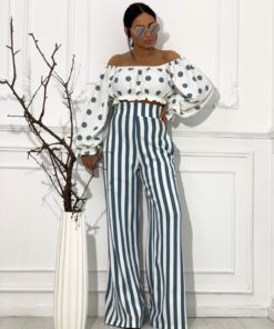Lambada Blue Dot bluza i Morena Striped Blue pantalone