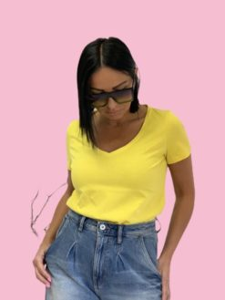 Yellow cotton basic majica