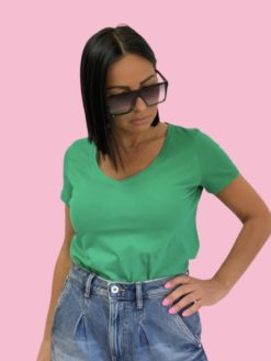 Green cotton basic majica